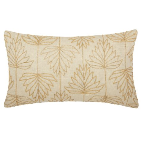 """Gold Beaded Lily Leaves 12"""" x 20"""" Decorative Pillow By Nourison"""