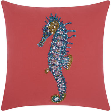 Mina Victory Beaded Seahorse Coral Outdoor Throw Pillow