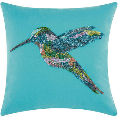 Mina Victory Beaded Hummingbird Turquoise Outdoor Throw Pillow