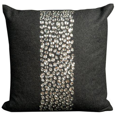 """Charcoal Center Large Stones 20"""" x 20"""" Decorative Pillow By Nourison"""