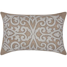 "Silver Grey Beaded Scroll 12"" x 20"" Decorative Pillow By Nourison"