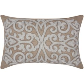 """Silver Grey Beaded Scroll 12"""" x 20"""" Decorative Pillow By Nourison"""