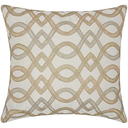"""Gold Embr. Geo Lattice 18"""" x 18"""" Decorative Pillow By Nourison"""