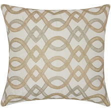 "Gold Embr. Geo Lattice 18"" x 18"" Decorative Pillow By Nourison"