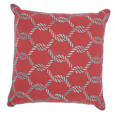 Mina Victory Woven Ropes Coral/Aqua Outdoor Throw Pillow
