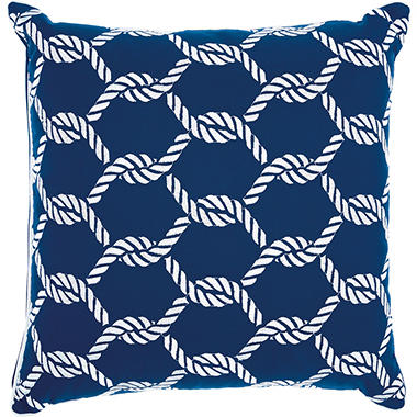 Mina Victory Woven Ropes Navy/White Outdoor Throw Pillow