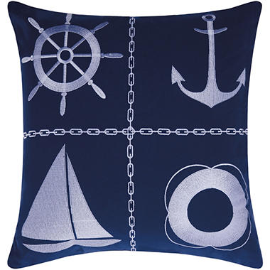 Mina Victory Nautical Grid Navy/White Outdoor Throw Pillow