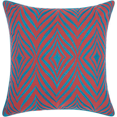 Mina Victory Embellished Wild Chevron Coral/Turquoise Outdoor Throw Pillow