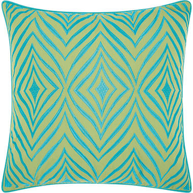 Mina Victory Embellished Wild Chevron Green/Turquoise Outdoor Throw Pillow