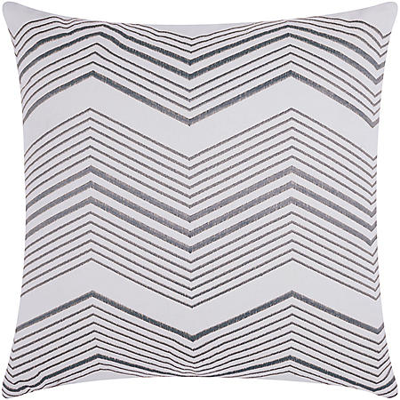 "Silver Thin Chevron 20"" x 20"" Decorative Pillow By Nourison"