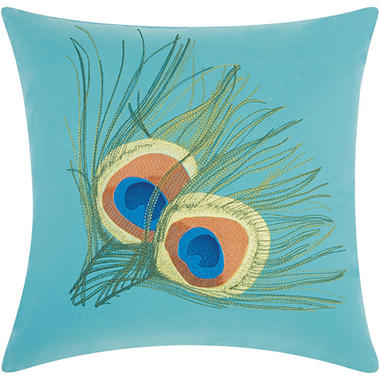 Mina Victory Peacock Feathers Turquoise Outdoor Throw Pillow