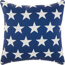 Mina Victory Stars Navy/White Outdoor Throw Pillow