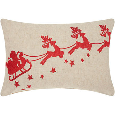 Mina Victory Home For The Holiday Embellished Santa Sleigh Red Throw Pillow