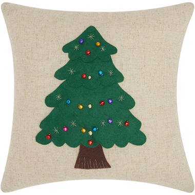Mina Victory Home For The Holiday Felt Christmas Tree Natural Throw Pillow