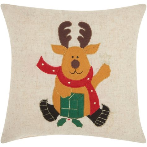 Mina Victory Home For The Holiday Felt Reindeer Natural Throw Pillow