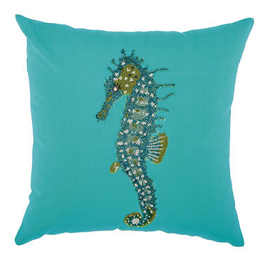 Mina Victory Beaded Seahorse Turquoise Outdoor Throw Pillow