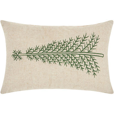 Mina Victory Home For The Holiday Green Pine Tree Linen Throw Pillow