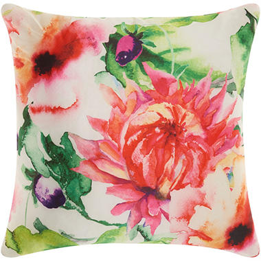 Mina Victory Watercolor Wildflower Multicolor Outdoor Throw Pillow