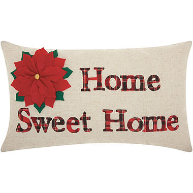 Mina Victory Home For The Holiday Home Sweet Home Natural Throw Pillow