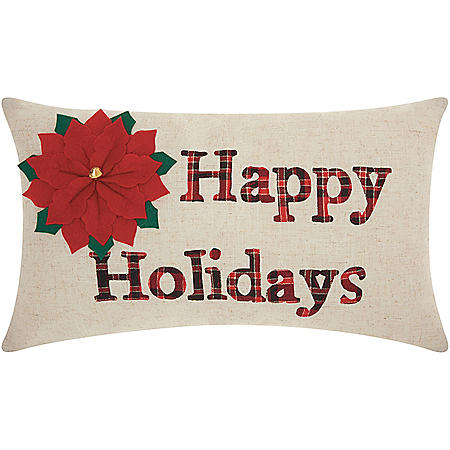 Mina Victory Home For The Holiday Happy Holidays Natural Throw Pillow