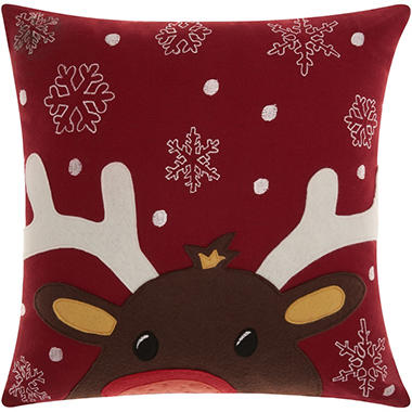 Mina Victory Home For The Holiday Felt Rudolph Red Throw Pillow