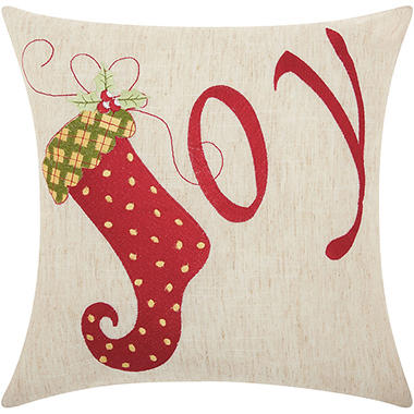 Mina Victory Home For The Holiday Joy Natural Throw Pillow