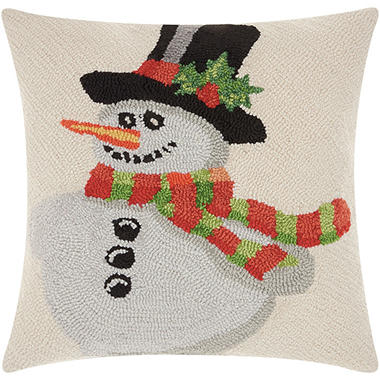 Mina Victory Home For The Holiday Hook Holiday Snowman Multicolor Throw Pillow