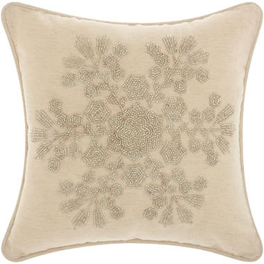 Mina Victory Home For The Holiday Seedbead Snowflake Silver Throw Pillow
