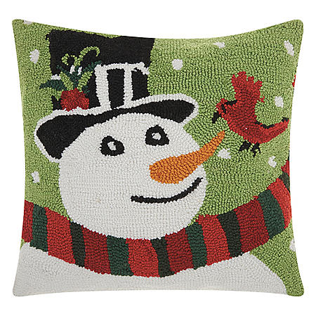 Nourison Snowman and Cardinal Decorative Pillow