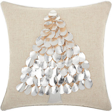 Mina Victory Home For The Holiday Metallic Tree Silver Throw Pillow