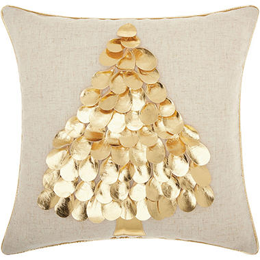 Mina Victory Home For The Holiday Metallic Tree Gold Throw Pillow