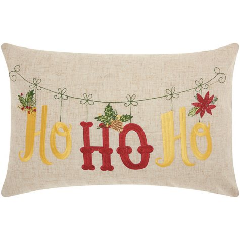 Mina Victory Home For The Holiday Ho Ho Ho Holiday Natural Throw Pillow
