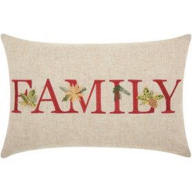 Mina Victory Home For The Holiday Family Holiday Natural Throw Pillow