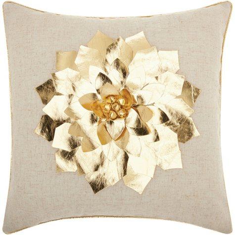 Mina Victory Home For The Holiday Metallic Pointsettia Gold Throw Pillow
