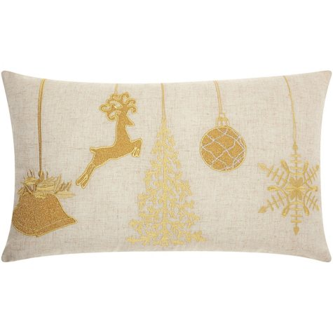 Mina Victory Home For The Holiday Holiday Ornaments Gold Throw Pillow