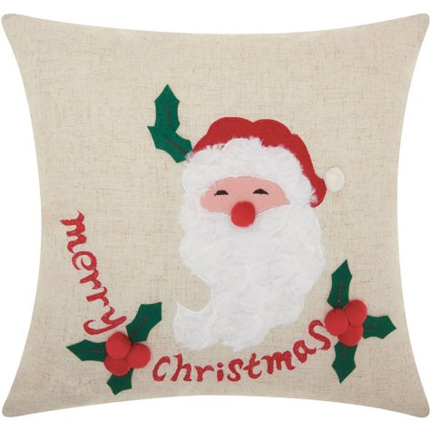 Mina Victory Home For The Holiday Merry Santa Natural Throw Pillow