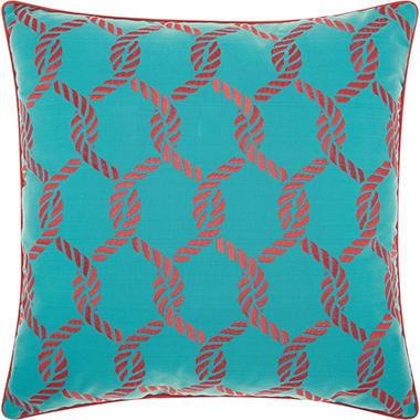 Mina Victory Woven Ropes Turquoise/Coral Outdoor Throw Pillow