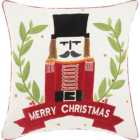 Mina Victory Home For The Holiday Nutcracker White Throw Pillow