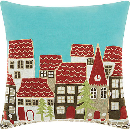 Mina Victory Home For The Holiday Holiday Village Multicolor Throw Pillow