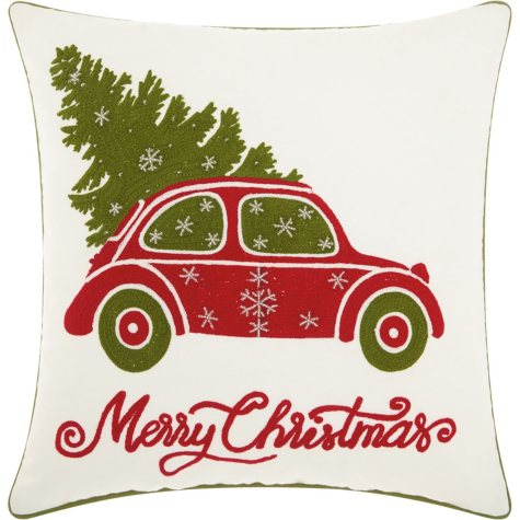 Mina Victory Home For The Holiday Christmas Tree In Car White Throw Pillow