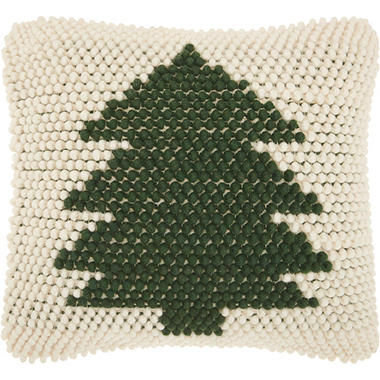 Mina Victory Home For The Holiday Christmas Tree Loops Green Ivory Throw Pillow