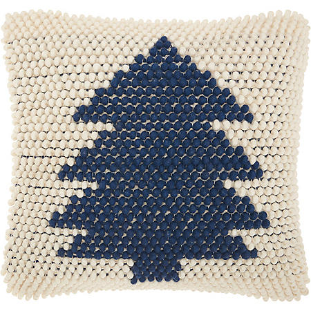 Mina Victory Home For The Holiday Christmas Tree Loops Navy Ivory Throw Pillow