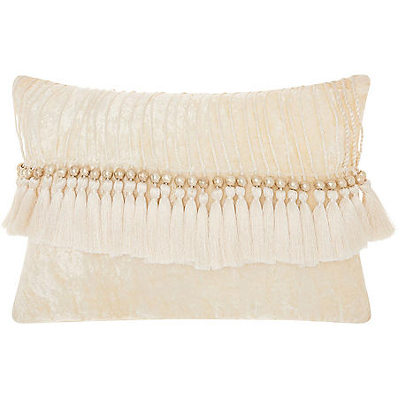 Mina Victory Life Styles Velvet Tassels Throw Pillow, Ivory