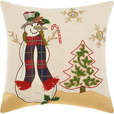 Mina Victory Home For The Holiday Beaded Snowman Multicolor Throw Pillow