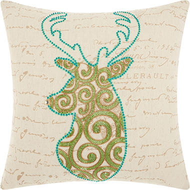 Mina Victory Home For The Holiday Scroll Reindeer Green Throw Pillow
