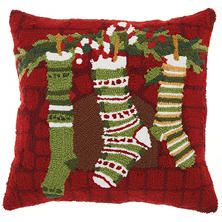 Mina Victory Home For The Holiday Christmas Stockings Multicolor Throw Pillow