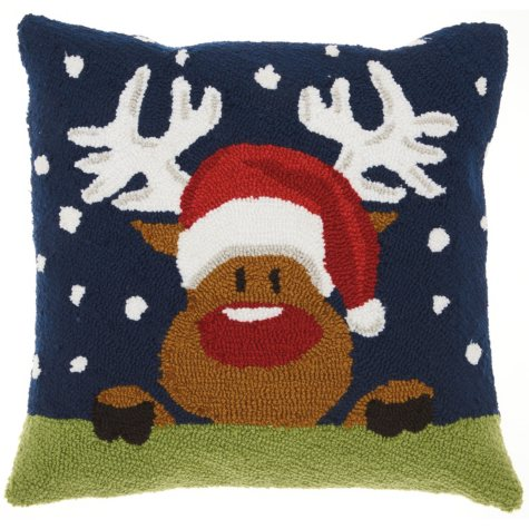 Mina Victory Home For The Holiday Rudolph in Snow Multicolor Throw Pillow