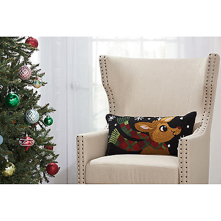 Mina Victory Home For The Holiday Rudolph With Scarf Multicolor Throw Pillow