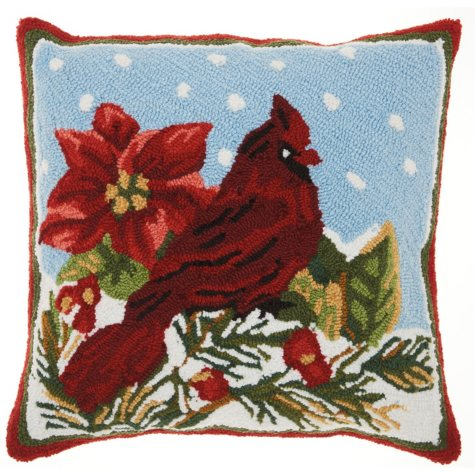 Mina Victory Home For The Holiday Cardinal and Holly Multicolor Throw Pillow