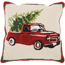 Mina Victory Home For The Holiday Christmas Tree on Car Multicolor Throw Pillow